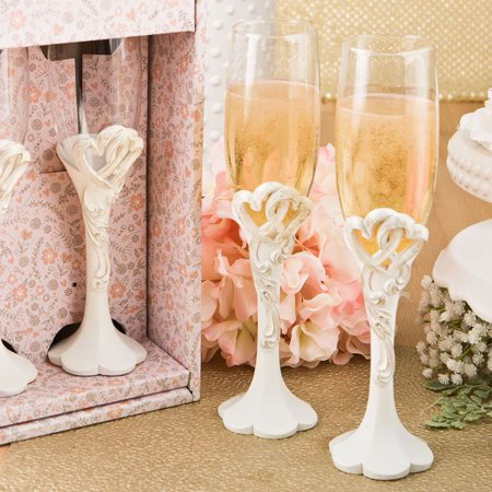 Vintage heart design toasting glass flute set from fashioncraft