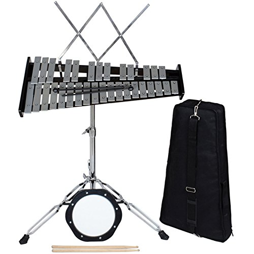 CALHOME 32 Notes Percussion Glockenspiel Bell Kit with Practice Pad+Mallets+Sticks+Stand by CALHOME