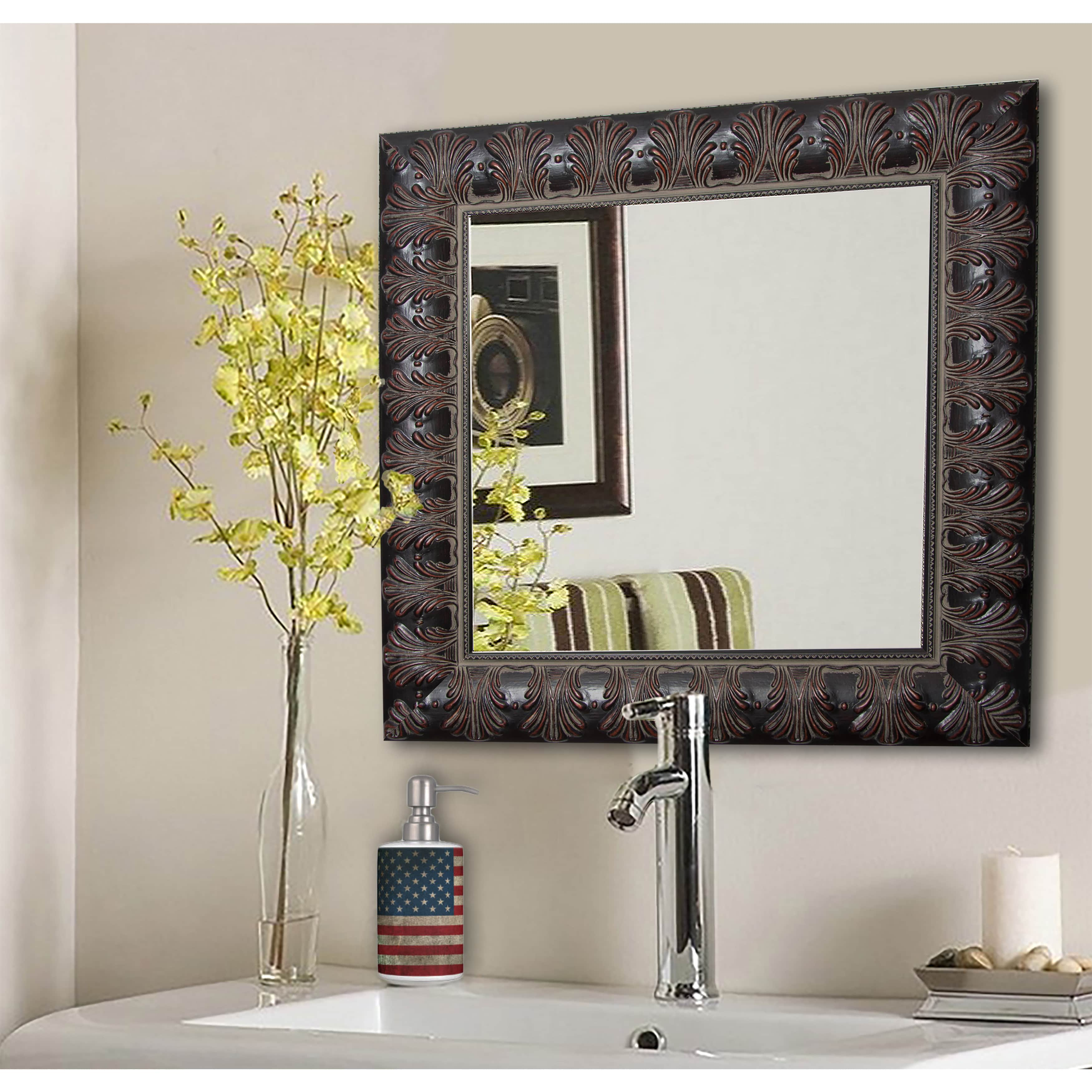 Rayne Mirrors American Made Rayne Feathered Accent Vanity Wall Mirror - Mahogany
