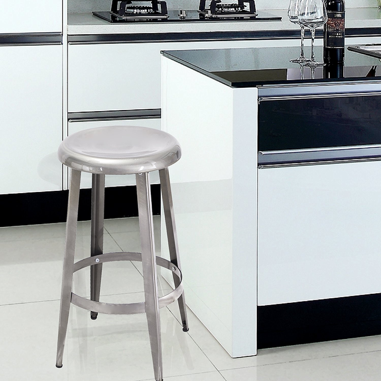 "Image of Adeco 26"" Gunmetal Metal Counter Stool"