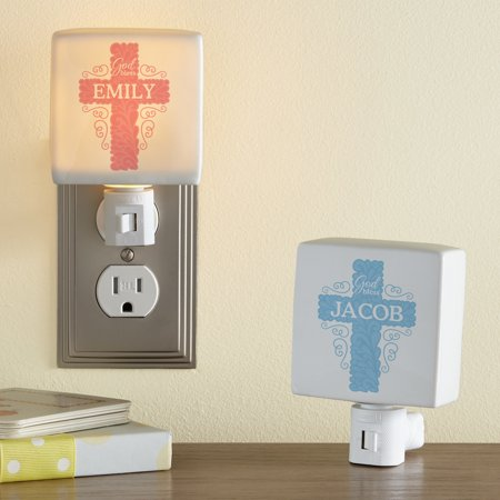 Personalized God Bless Cross Nightlight - Available in Blue or Pink