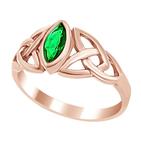 Marquise Cut Emerald (Celtic Design Marquise Cut Simulated Green Emerald CZ Promise Ring In 925 Sterling)