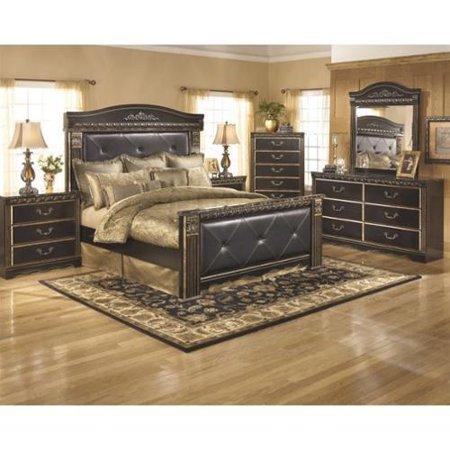 ashley coal creek 6 piece queen panel bedroom set in dark brown