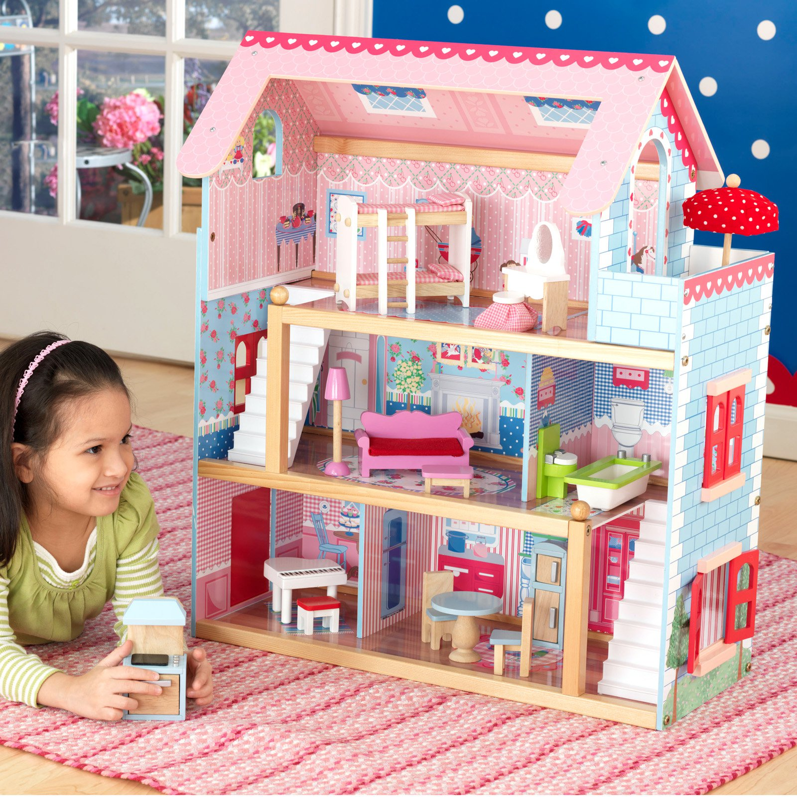 KidKraft Chelsea Wooden Doll Cottage with 17 Pieces of Furniture 65054