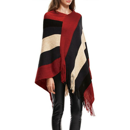 Knit Tassel Fringed Pullover Poncho Sweater Cape Shawl Wrap for Women Knitted Cardigan Pullover Jumper Coat Outwear Tops