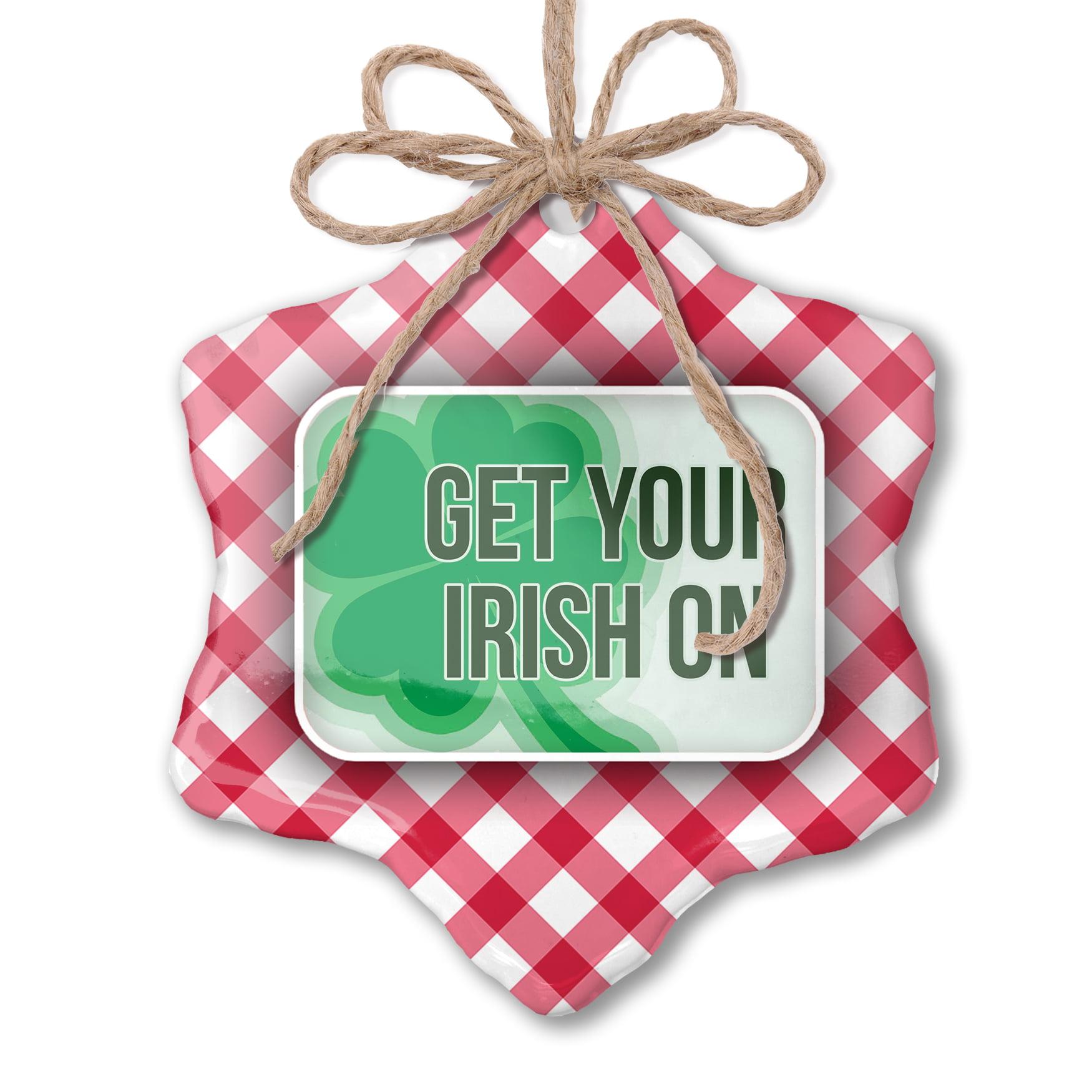 Irish Shamrock Checkered Yoga Leggings St Patrick/'s Day