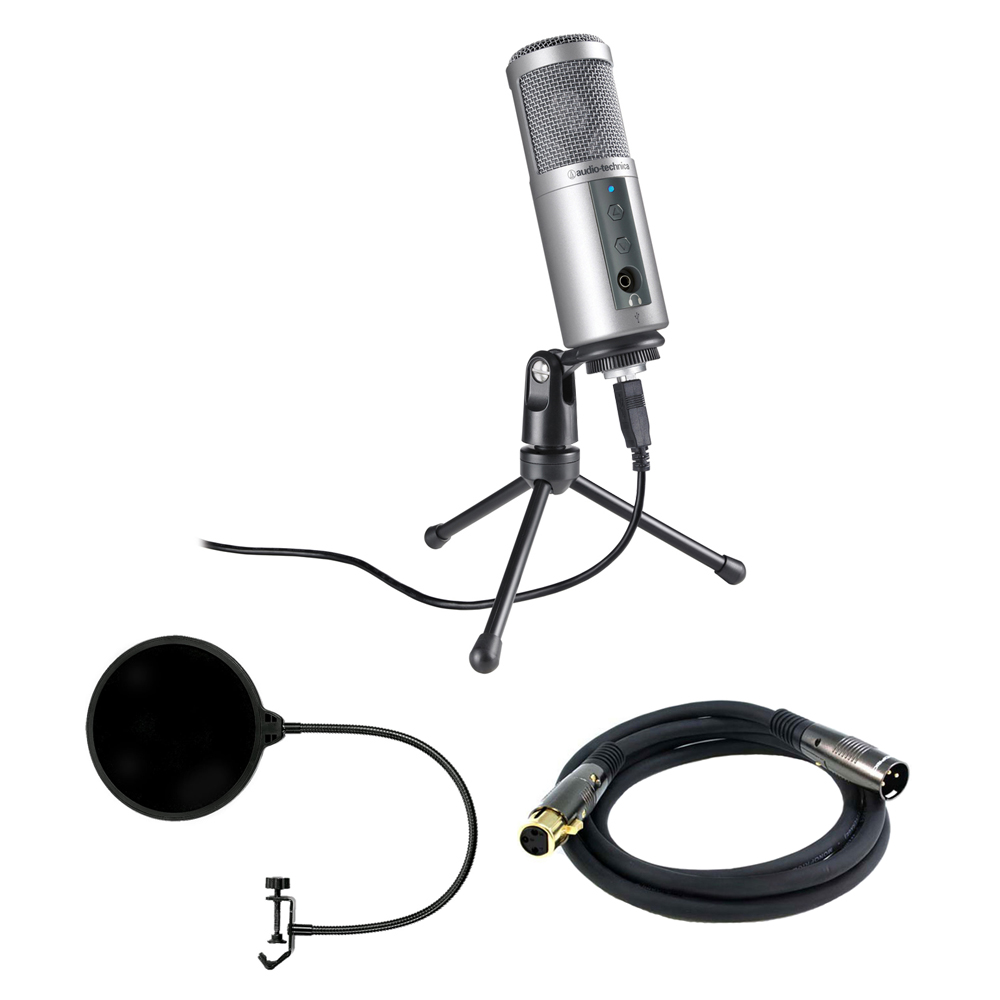 Audio-Technica Cardioid Dynamic USB Microphone (ATR2500-USB) with Pop Shield Universal Pop Filter Microphone Wind Screen with Mic Stand Clip & Monoprice XLR Male to XLR Female 16AWG Cable 6'