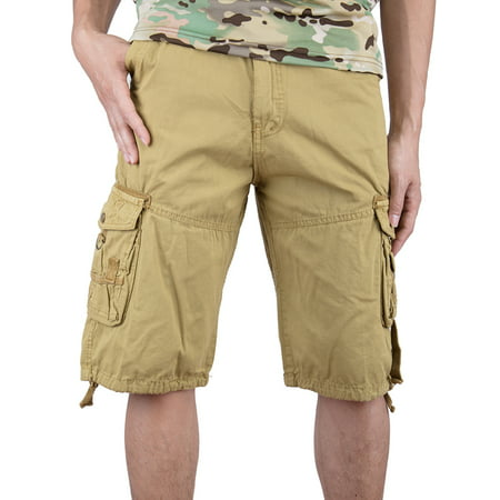 SAYFUT Men's Cotton Twill Cargo Shorts Elastic For Big Men Outdoor Wear Lightweight Plus Size Khaki Color ()