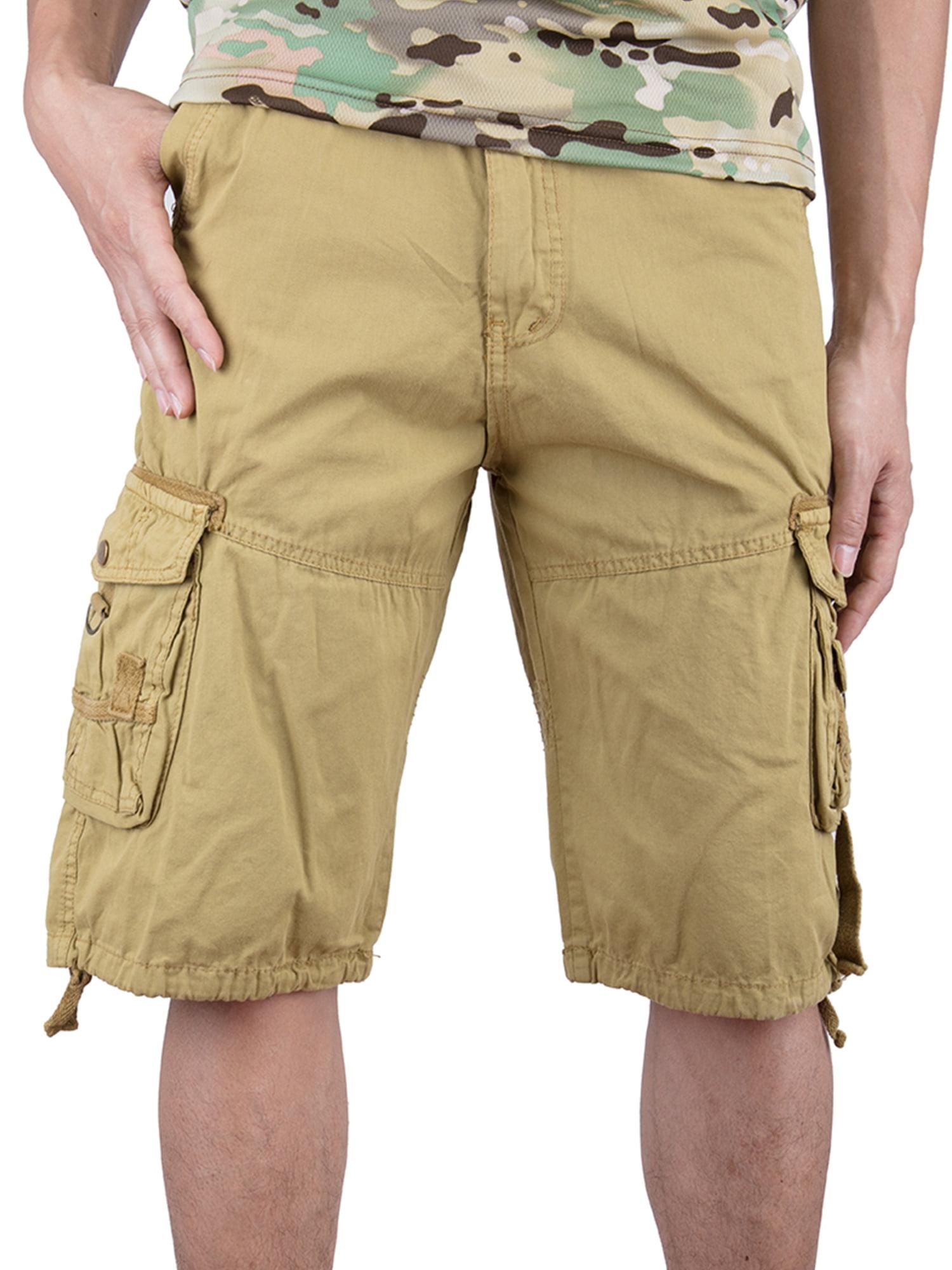 SAYFUT Men's Cotton Twill Cargo Shorts Elastic For Big Men Outdoor Wear Lightweight Plus Size Khaki Color