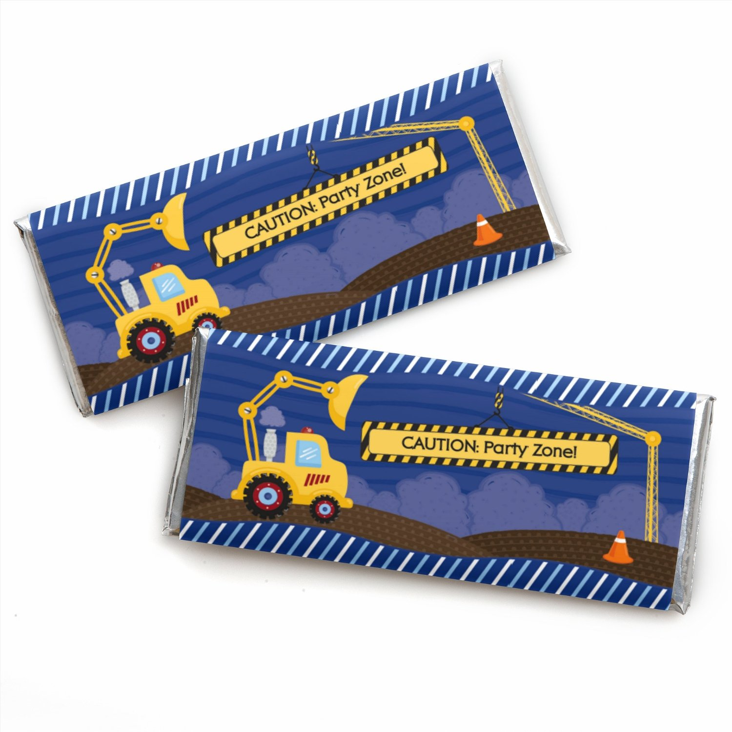 Construction Truck - Candy Bar Wrappers Baby Shower or Birthday Party Favors - Set of 24