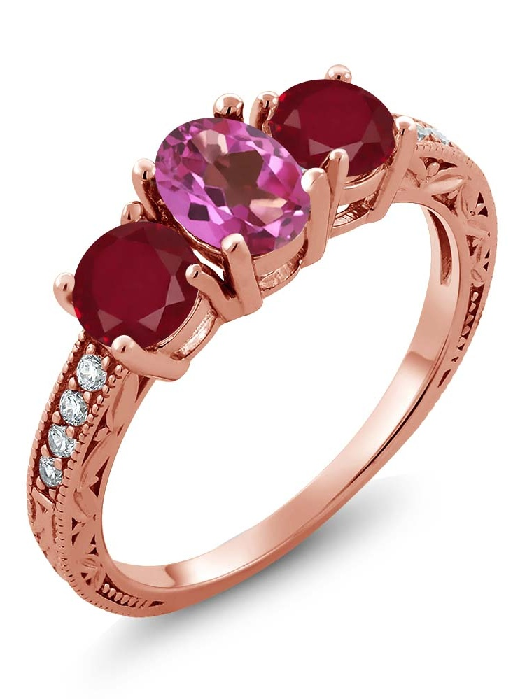 Gem Stone King 2.02 Ct Oval Pink Mystic Topaz Red Ruby 18K Rose Gold Plated Silver Ring by