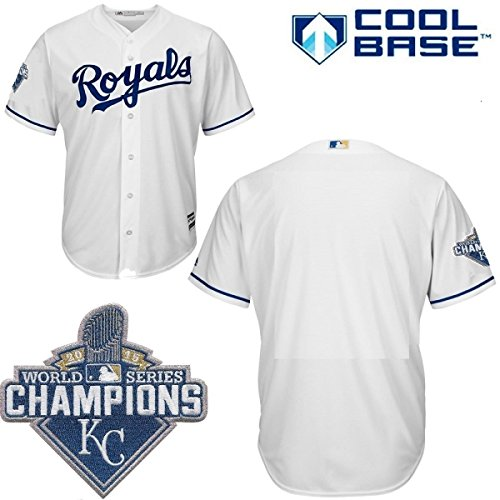 Kansas City Royals MLB Youth 2015 World Series Champions Patch Cool Base Home Jersey (Youth Large 14 16) by Majestic