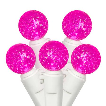 set of 50 pink led g12 berry fashion glow christmas lights white wire