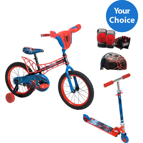 Your Choice: Huffy Spiderman Boy's Bike or Inline Folding Kick Scooter w/ Safety Gears bundle