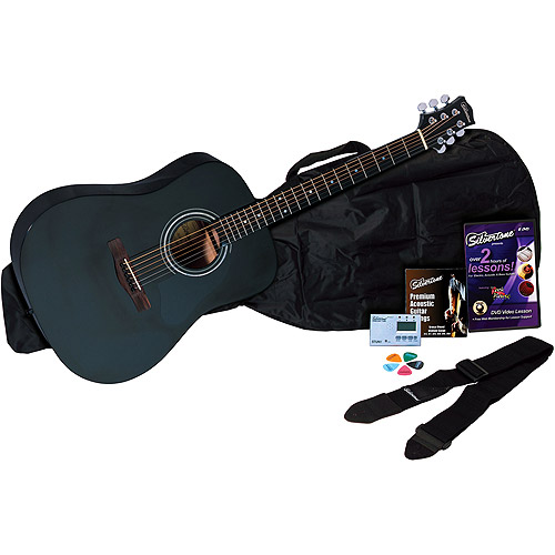 Silvertone SD10 Complete Acoustic Guitar Package - Black