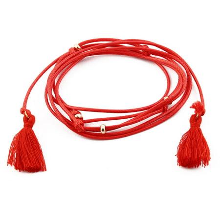 Women Lady Nylon Tassel Decor Adjustable Choker Necklace DIY Neck Chain Red