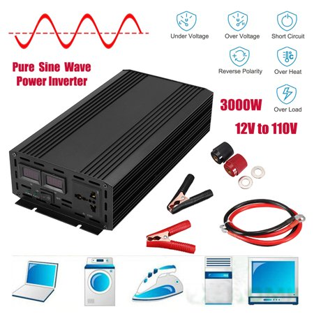 3000W Peak Pure Sine Wave Power Inverter DC 12V to 110V 120V AC
