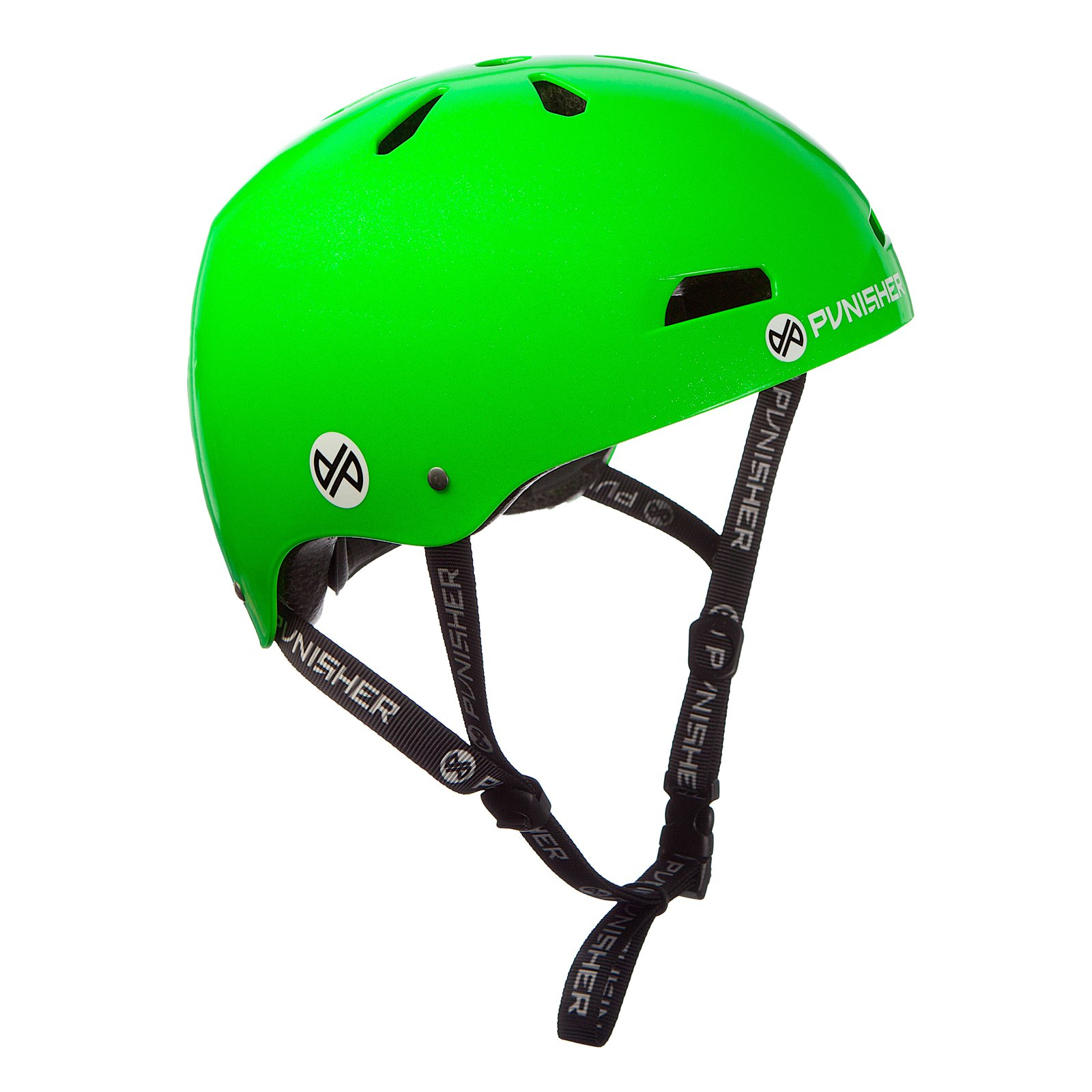 Punisher Skateboards Premium Youth 13-vent Bright Neon Green Dual Safety Certified BMX Bike and Skateboard Helmet, Size Medium