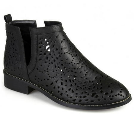 - Womens Stacked Heel Laser Cut Faux Leather Booties