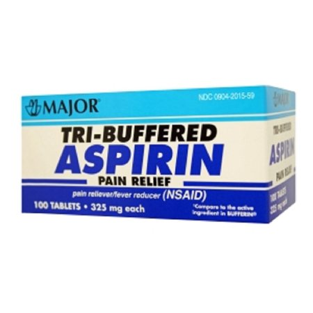 MAJOR TRI-BUFFERED ASPIRIN TAB ASPIRIN-325 MG White 100 TABLETS UPC 309042015592