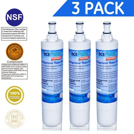 Whirlpool 4396508 4396510 EveryDrop Filter 5 Kenmore 46-9010 Compatible Refrigerator Water Filter By GOLDEN ICEPURE 3 Pack ()