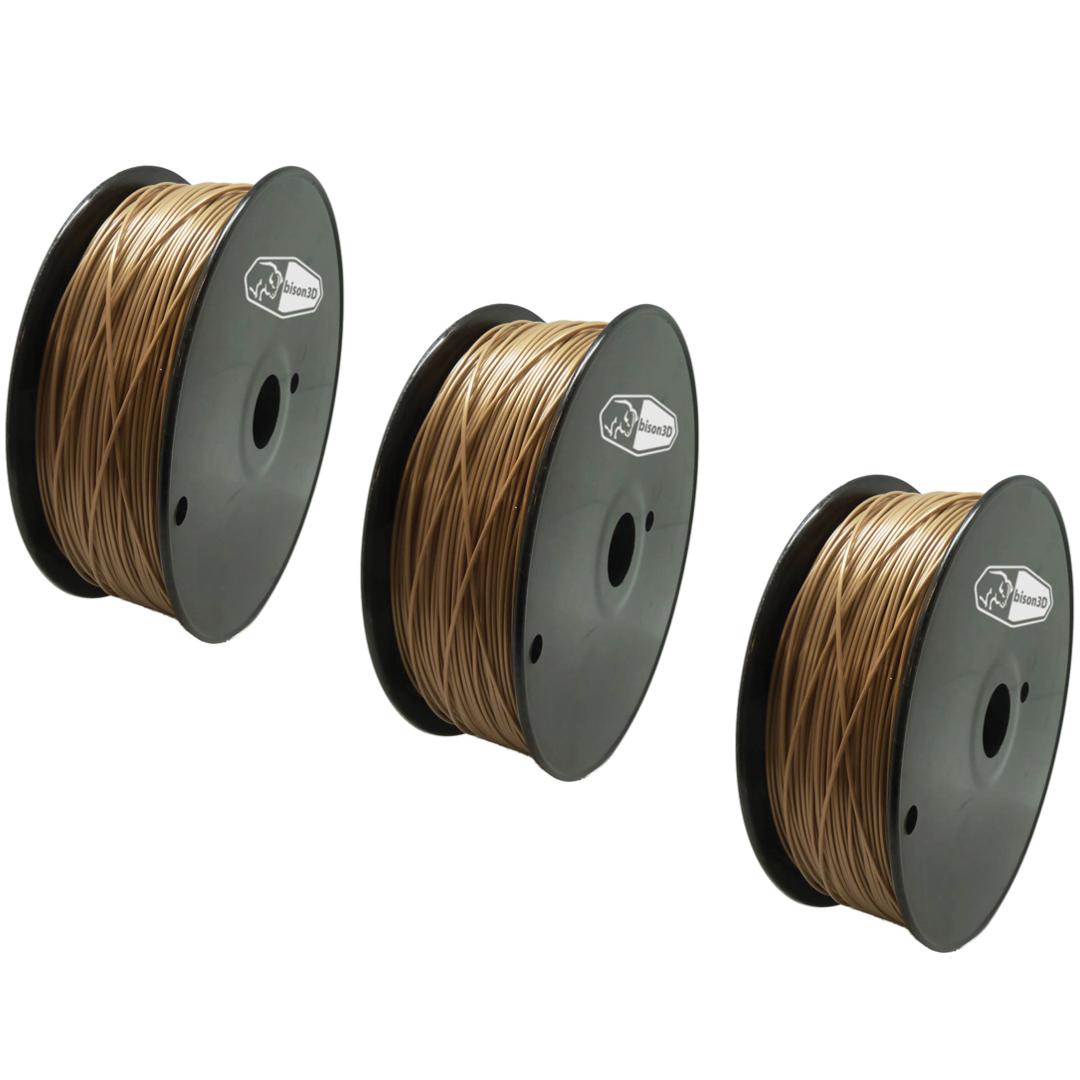 3 PACK Bison3D Filament for 3D Printing, 1.75mm, 1kg/roll, Gold (ABS)