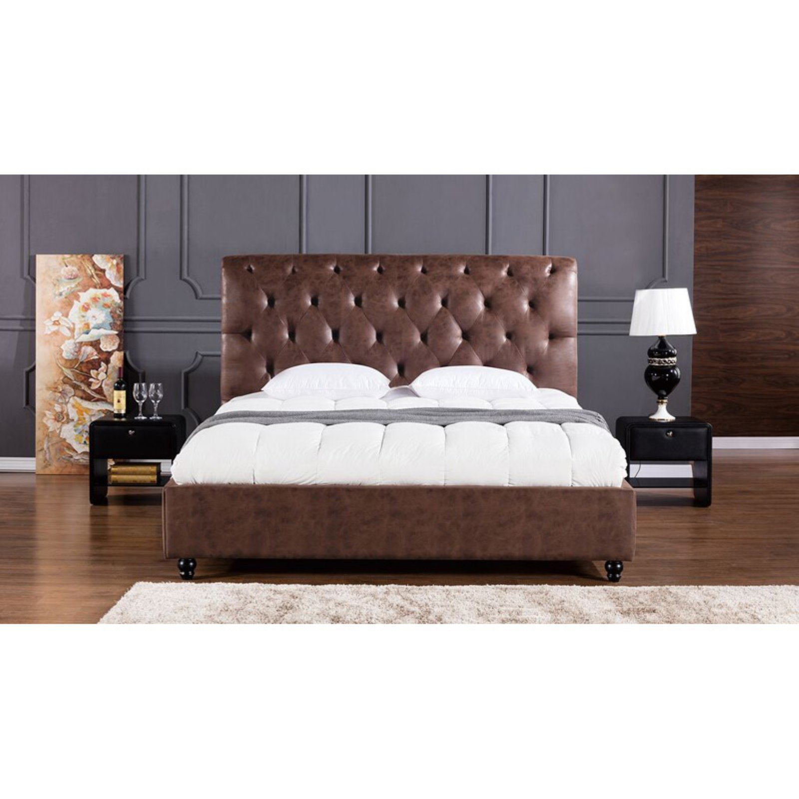 American Eagle Furniture Brooks Platform Bed with Tufted Headboard