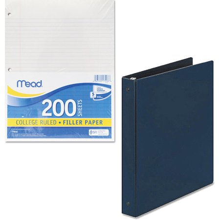 Mead Filler Paper, College Ruled, 3-Hole Punched, 11 x 8-1/2, 200 Sheets Per Pack and Avery Durable Vinyl Slant D Ring View Binder, 3