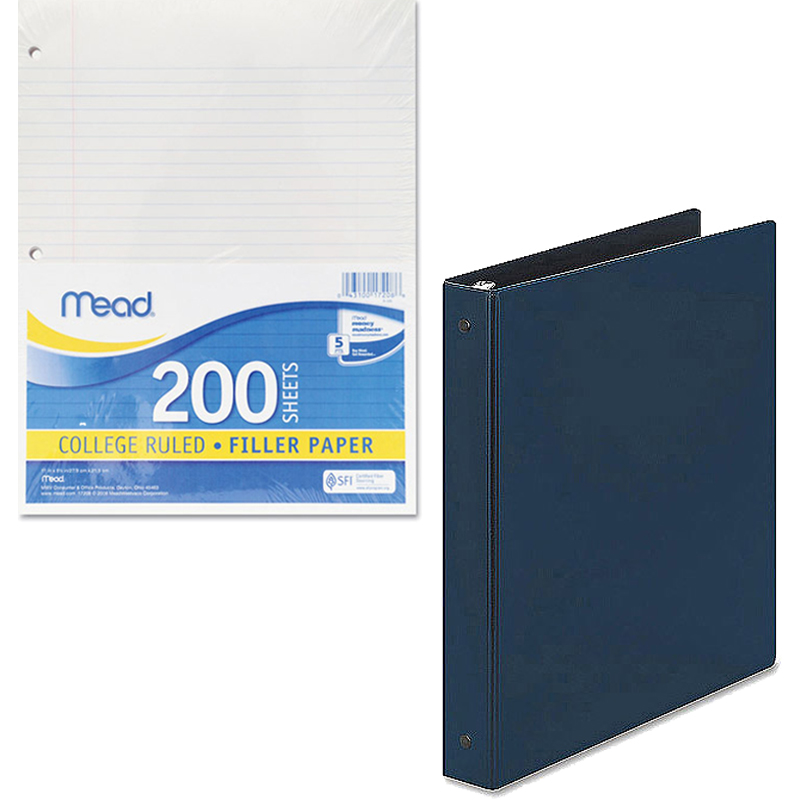 """Mead Filler Paper, College Ruled, 3-Hole Punched, 11 x 8-1/2, 200 Sheets Per Pack and Avery Durable Vinyl Slant D Ring View Binder, 3"""" Capacity, White Bundle"""