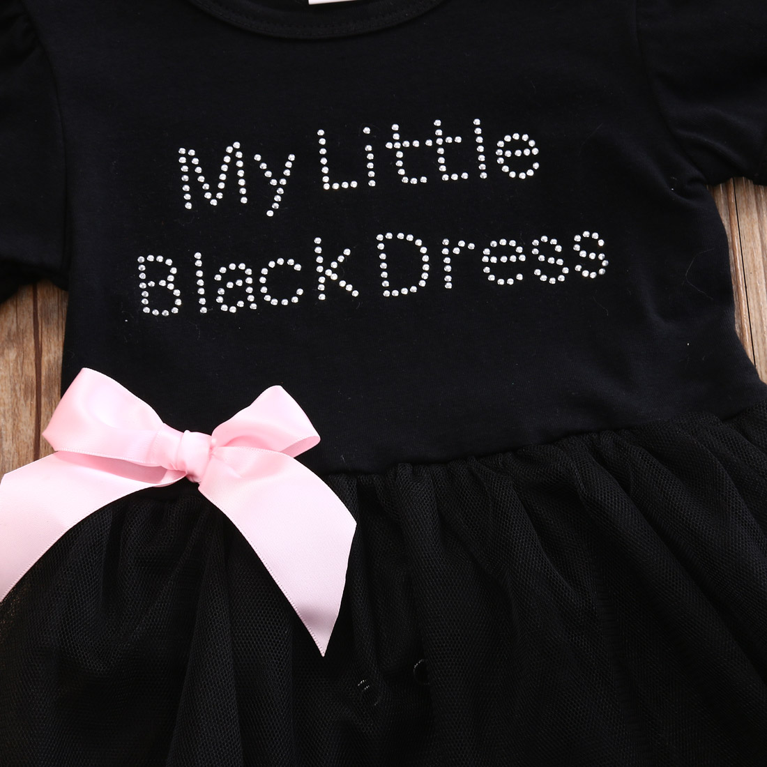 Kids Baby Girls My Little Black Dress Bodysuit Romper Tutu Dress