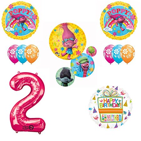 TROLLS Movie 2nd Happy Birthday Party Balloons Supplies Poppy Branch - Happy 16th Birthday Balloons
