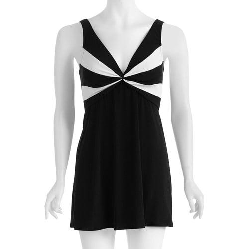 Catalina Suddenly Slim Women's Plus-Size Slimming Colorblock Swimdress One-Piece Swimsuit