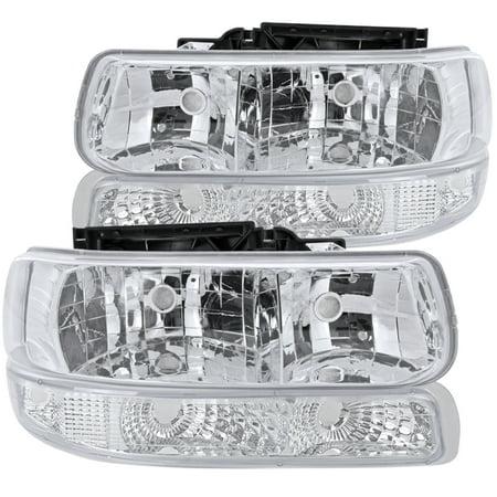 Spec-D Tuning For 1999-2002 Chevy Silverado 2000-2006 Tahoe Suburban Euro Headlights + Bumper Lights Signal Corner Lamps (Left+Right) 1999 2000 2001 2002 2003 2004 2005 2006 Chevy Suburban Turn Signal