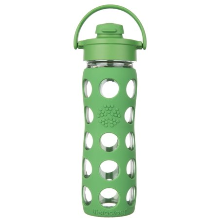 Lifefactory 16 oz. Green Flip Cap Glass Bottle One Size