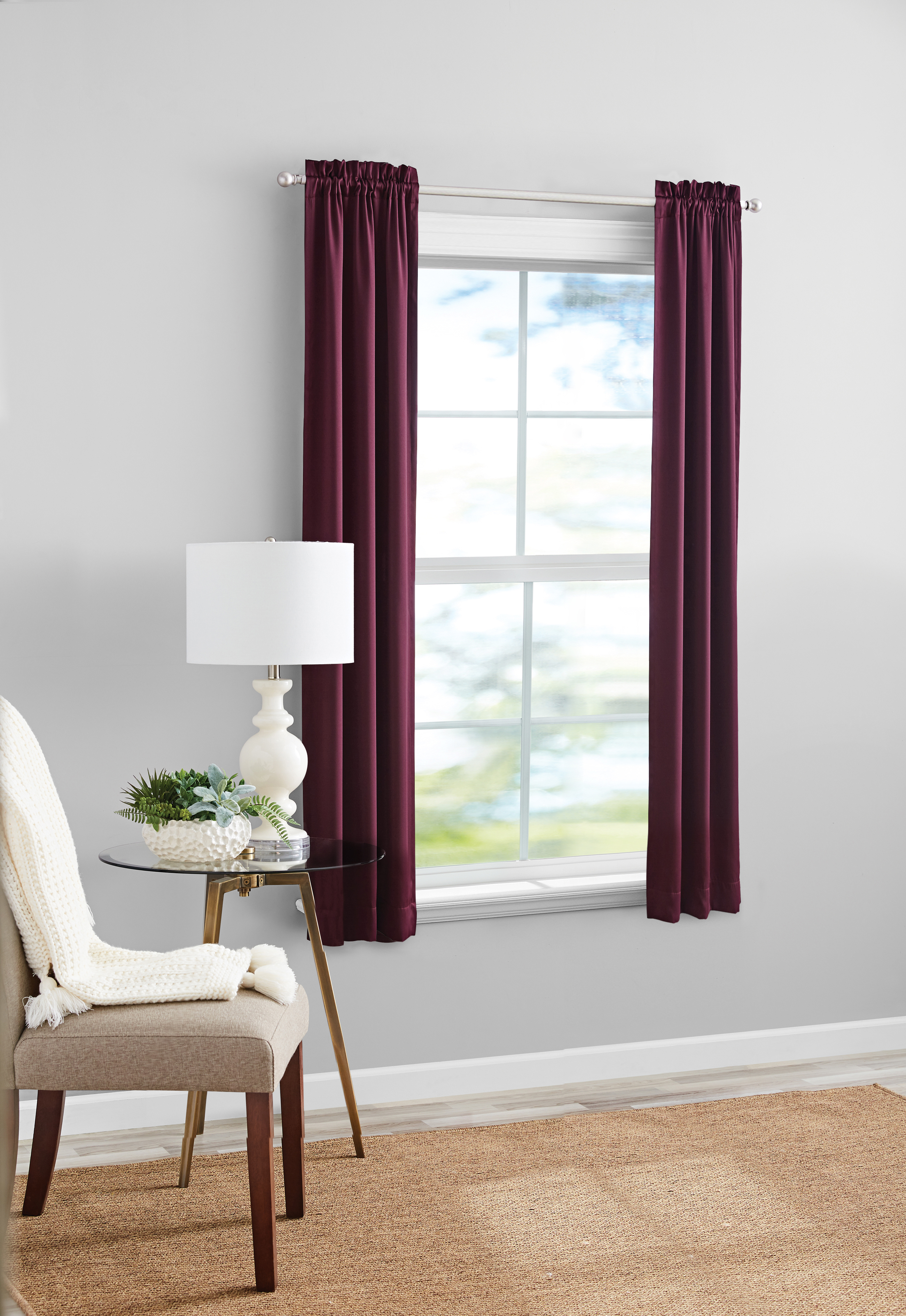 Mainstays Solid Color Room Darkening Rod Pocket Curtain Panel Set Of 2 Burgundy 30x63 Walmart Com Walmart Com
