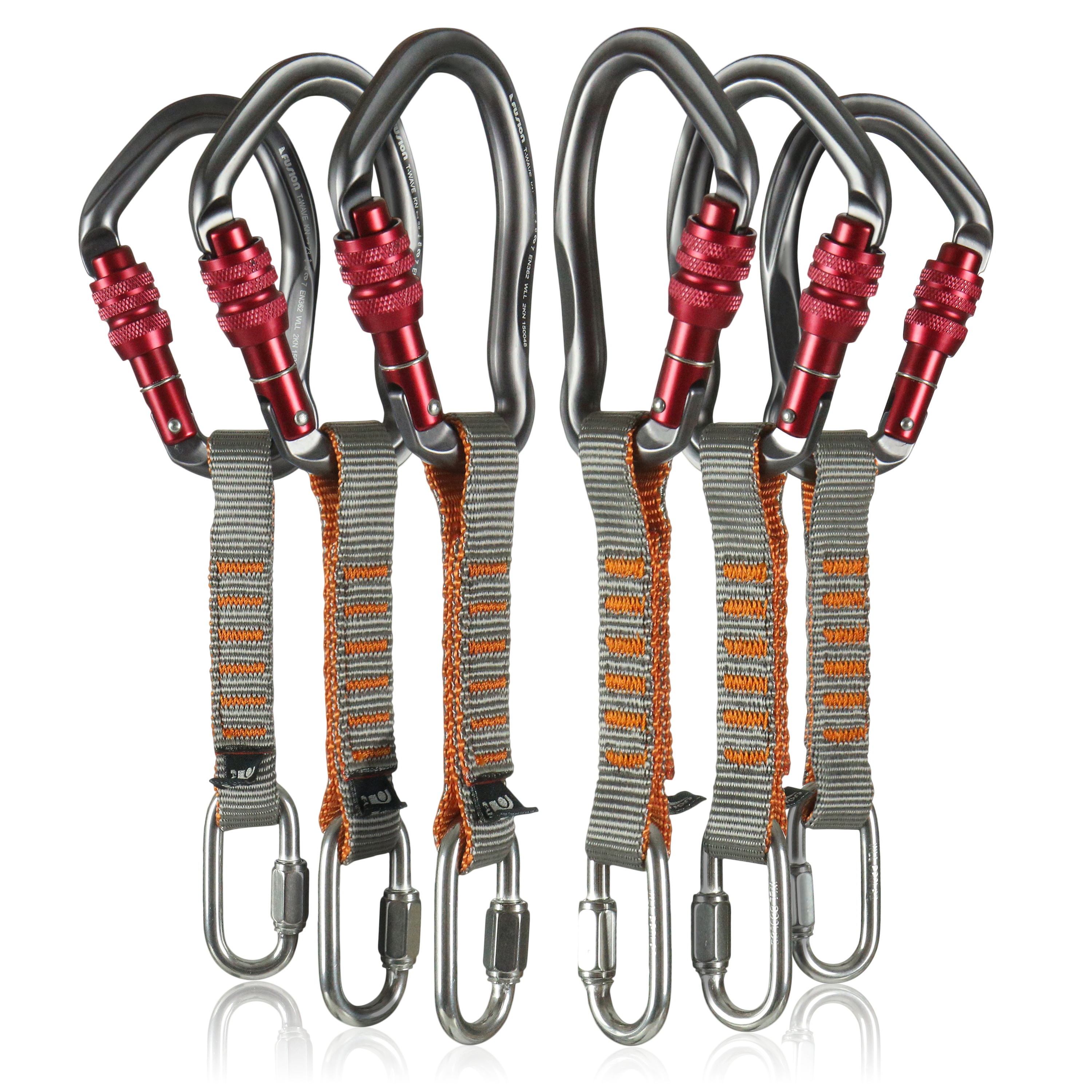 "Fusion Climb 6-Pack 11cm Quickdraw Set with 1/4"" Stainless Steel Quick Link/Techno Wave Burgundy Screw Gate Carabiner"