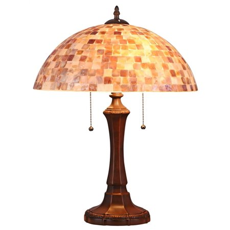 - Shelley Mosaic 2-Light Table Lamp in Dark Bronze Finish