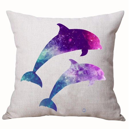 Beautiful Underwater World Marine Life Fantastic Colorful Stars Sky Galaxy Dolphin Cotton Linen Decorative Home Office Throw Pillow Case Cushion Cover Square 18X18 Inches - World Stars