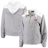 Mississippi State Bulldogs Women's Colorblock Anorak Quarter-Zip Pullover Jacket - Gray/White
