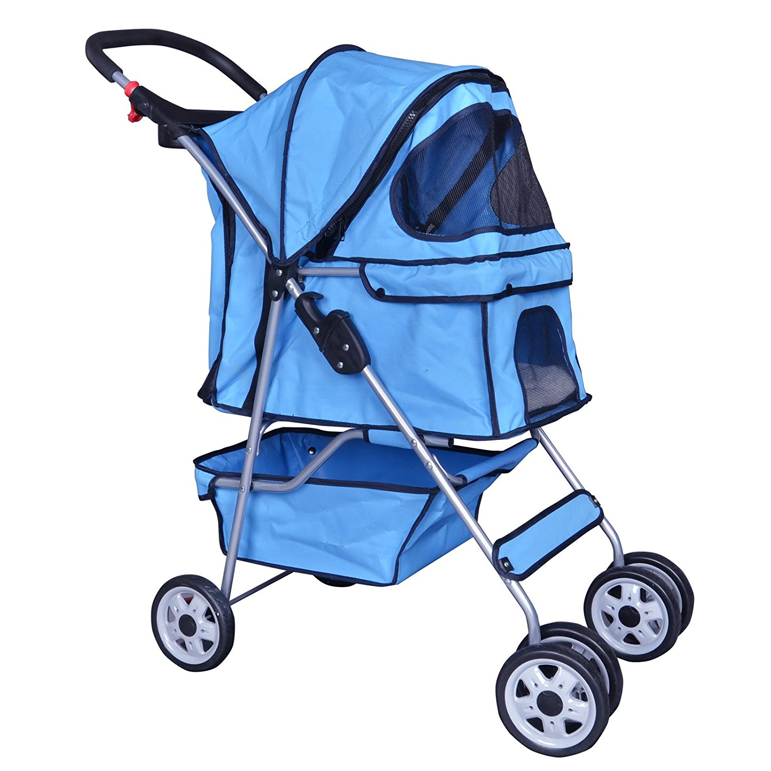 BestPet Blue 4 Wheels Pet Stroller Cat Dog Cage Stroller Travel Folding Carri... by