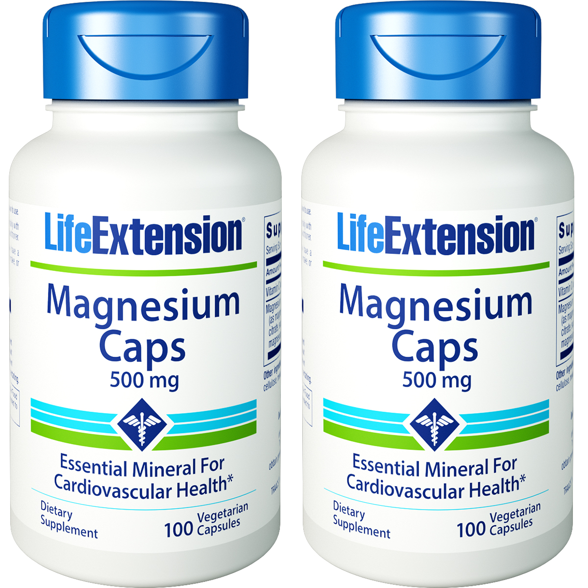 Life Extension Magnesium Caps 500 mg 100 Vegetarian Capsules 2 Bottles
