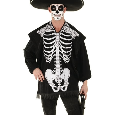 Skeleton Serape Mens Halloween Screen Printed Halloween Shawl Poncho-Os - Shaft Costume
