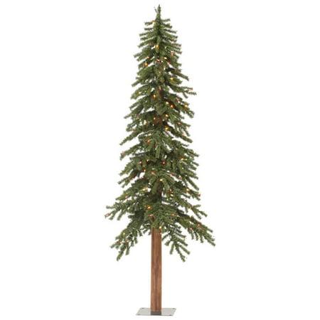 4 Pre Lit Rustic Alpine Artificial Christmas Tree Multi