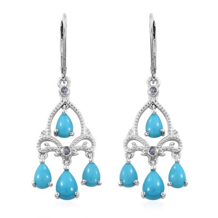 - Sleeping Beauty Turquoise Tanzanite Dangle Drop Earrings 925 Sterling Silver Platinum Plated Gift Jewelry for Women