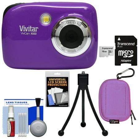 Vivitar ViviCam VX022 Digital Camera (Purple) with 16GB Card + Case + Tripod + (Purple Camera)