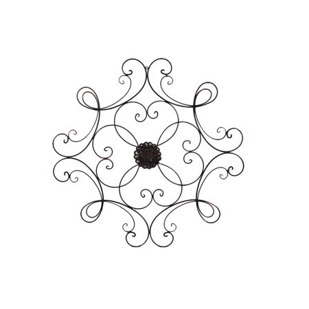 Benzara Square Scrolled Metal Wall Medallion for Indoor and Outdoor, (Deep Bronze Metal)