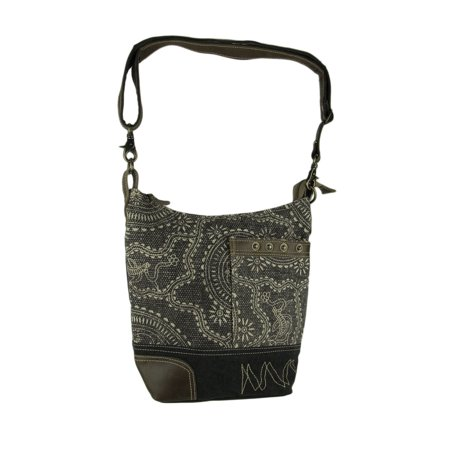 Black and Grey Vintage Carvings Print Upcycled Canvas and Leather Trim Handbag