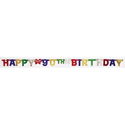 creative converting party decoration jointed banner, happy 90th birthday, 6-feet](Happy 90th Birthday Banner)
