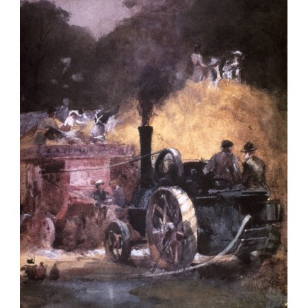 Steam Thresher19Th Century Nan Early English Steam Thresher Oil On Canvas 19Th Century By Mary Butler Rolled Canvas Art -  (24 x 36)