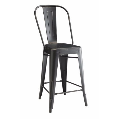 - Traditional Metal Counter Height Chair, Black, Set of 2